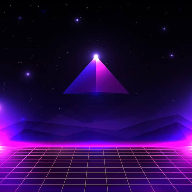Retro Futurystyczny Krajobraz, świecący Cyber świat O Kształcie Siatki I Piramidy. Tło Science Fiction W Stylu Lat 80. Premium Wektorów