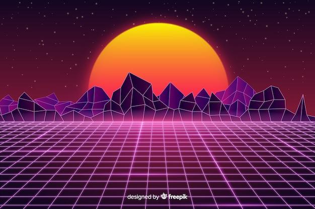 Retro futurystyczny krajobraz tło płaski kształt Darmowych Wektorów