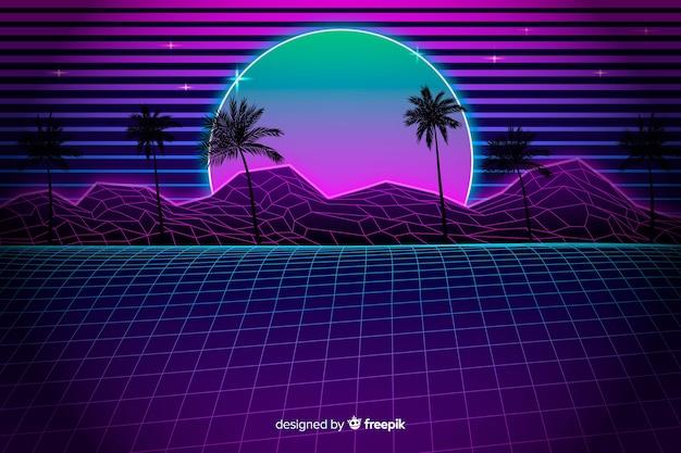 Retro futurystyczny krajobraz tło z palmami Darmowych Wektorów