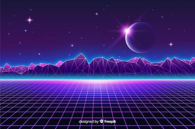 Retro futurystyczny krajobraz wszechświatowy tło Darmowych Wektorów
