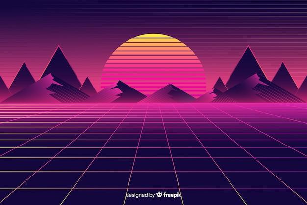 Retro Futurystyczny Krajobrazowy Tło Z Słońcem Darmowych Wektorów