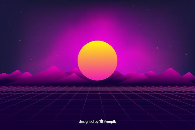 Retro futurystyczny science-fiction tło krajobraz, fioletowy kolor Darmowych Wektorów