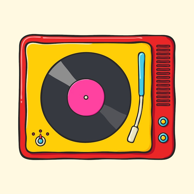 Retro Gramofon Przenośny Premium Wektorów