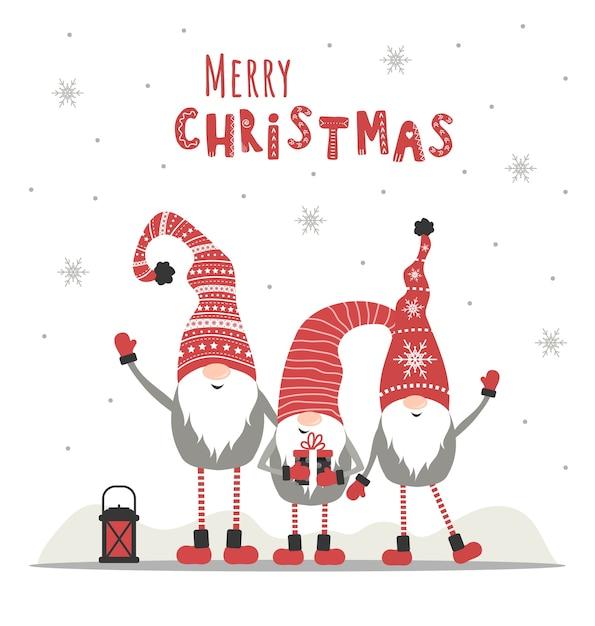 Retro Kartki świąteczne Z Gnomami. Powitanie Sezonu. Premium Wektorów