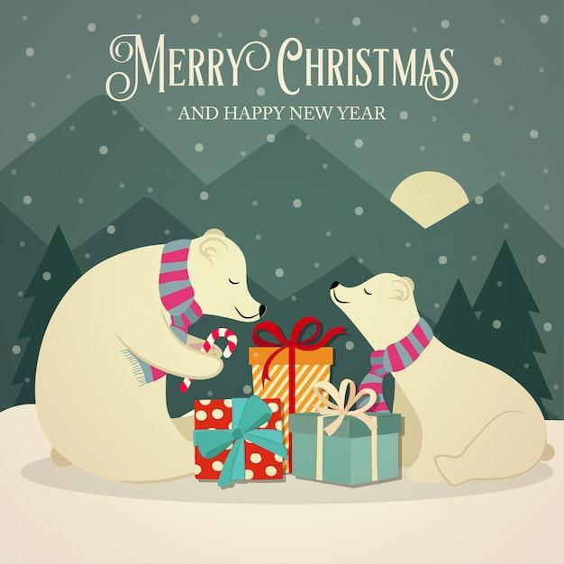 Retro kartki świąteczne z rodziny niedźwiedzi polarnych i prezenty Premium Wektorów