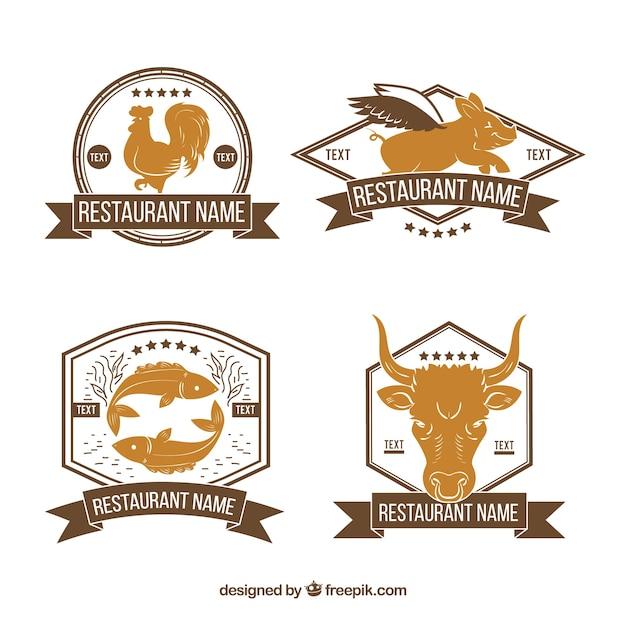 Retro Logo Restauracji Ze Zwierzętami Darmowych Wektorów