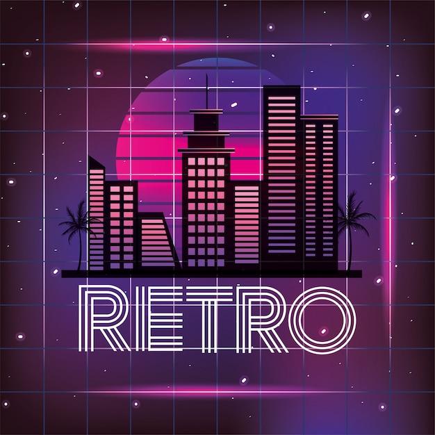 Retro Miasto Z Graficznym Neonowym Stylem Premium Wektorów