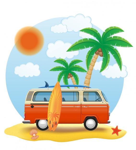 Retro Minivan Z Deską Surfingową Na Plażowej Wektorowej Ilustraci Premium Wektorów