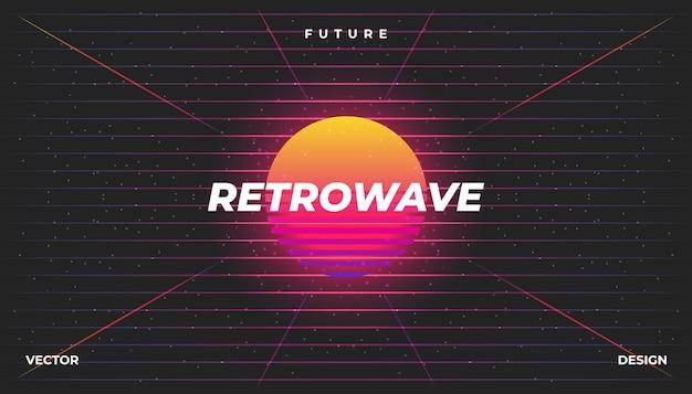 Retro Neon Cyber Tła Krajobraz 80s Styled. Premium Wektorów