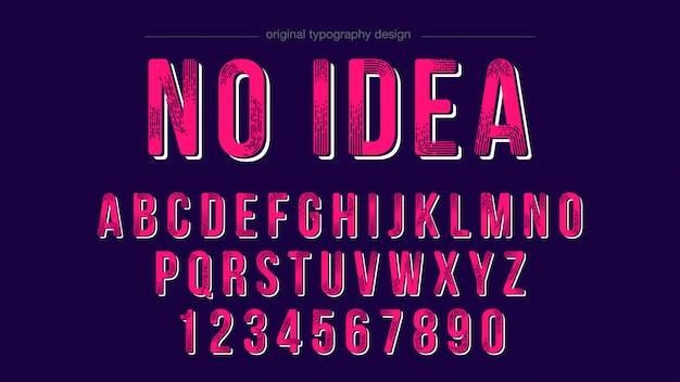 Retro pink bold typografia alfabet czcionki projekt Premium Wektorów
