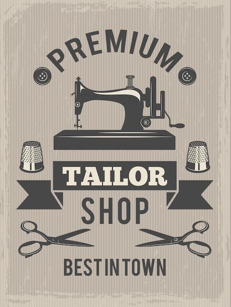 Retro plakat do sklepu krawieckiego. afisz z symbolami produkcji tekstylnej Premium Wektorów