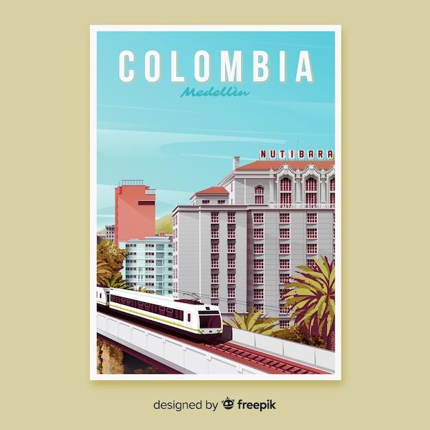 Retro Plakat Promocyjny Kolumbii Darmowych Wektorów