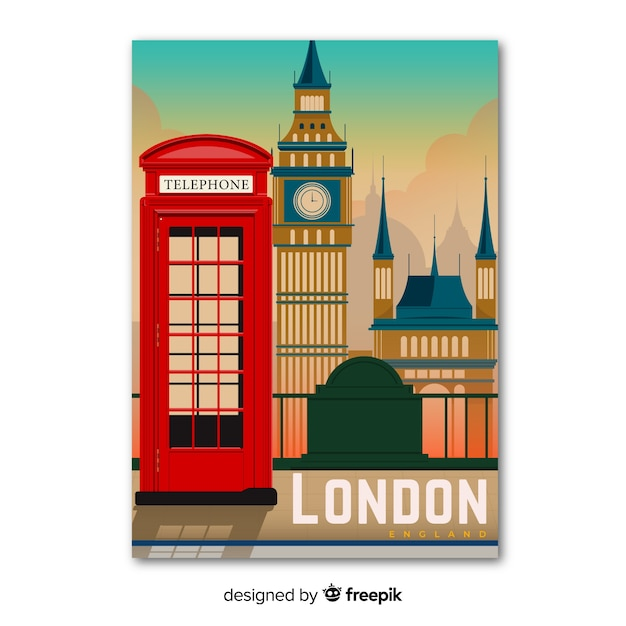 Retro plakat promocyjny szablonu londynu Darmowych Wektorów