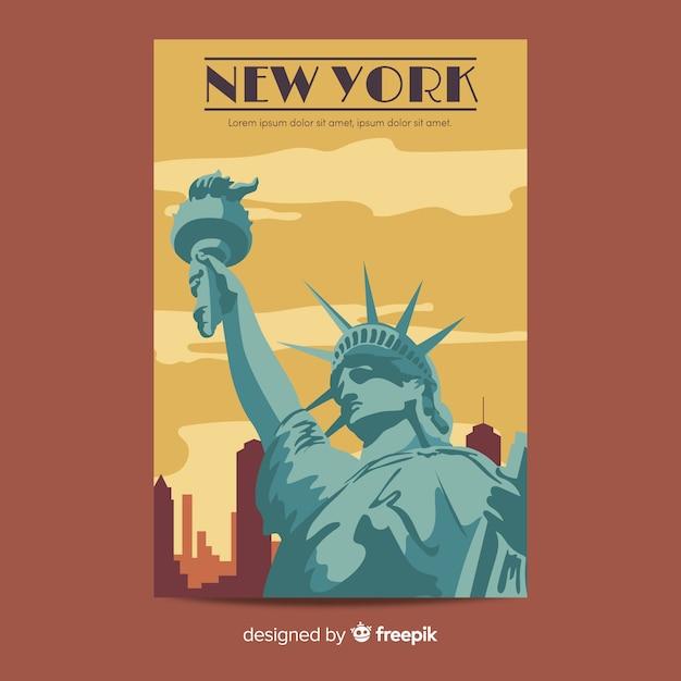 Retro Plakat Promocyjny Szablonu Nowego Jorku Darmowych Wektorów