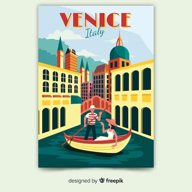 Retro Plakat Promocyjny Szablonu Wenecji Darmowych Wektorów