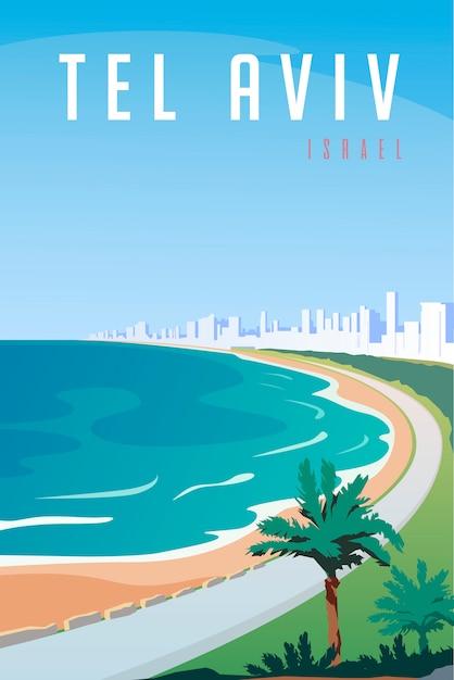 Retro Plakat W Stylu Art Deco. Tel Awiw, Izrael. Premium Wektorów