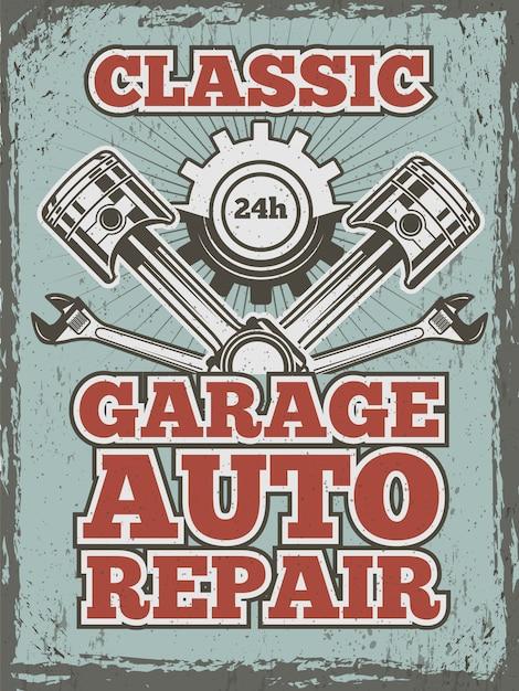 Retro Plakat Z Motywem Samochodowym Z Ilustracjami Różnych Narzędzi Mechanicznych I Szczegółów Premium Wektorów