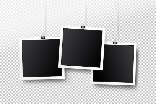 Retro Puste Ramki Na Zdjęcia Wiszące Na Klipie Premium Wektorów