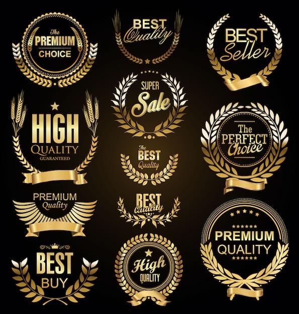 Retro rocznik laurowych wianek sprzedaży kolekci złoty wektor Premium Wektorów