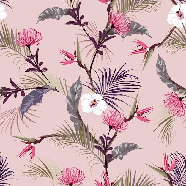 Retro Słodkie Tropikalne Dżungle Z Egzotycznym Kwiatem, Kwiatowy Wzór Hibiskusa Premium Wektorów