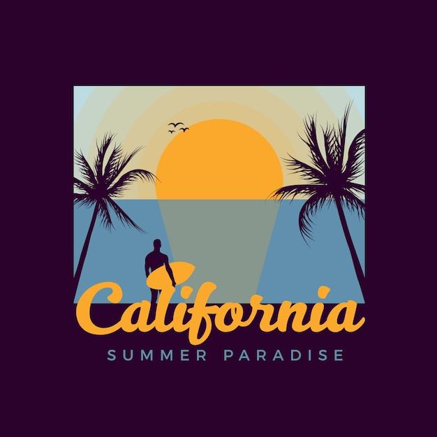 Retro Surfing T-shirt Design Premium Wektorów