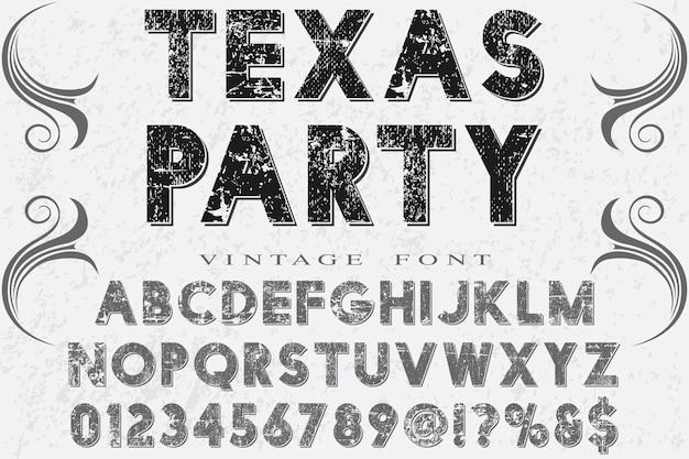 Retro typografii alfabet czcionki projekt strony texas Premium Wektorów