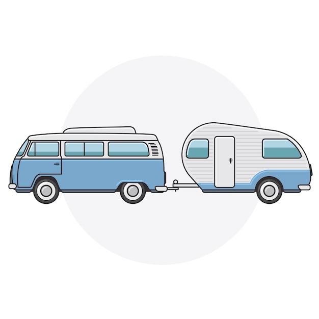 Retro Van Z Przyczepą Kempingową - Widok Z Boku Rocznika Minibusa Premium Wektorów