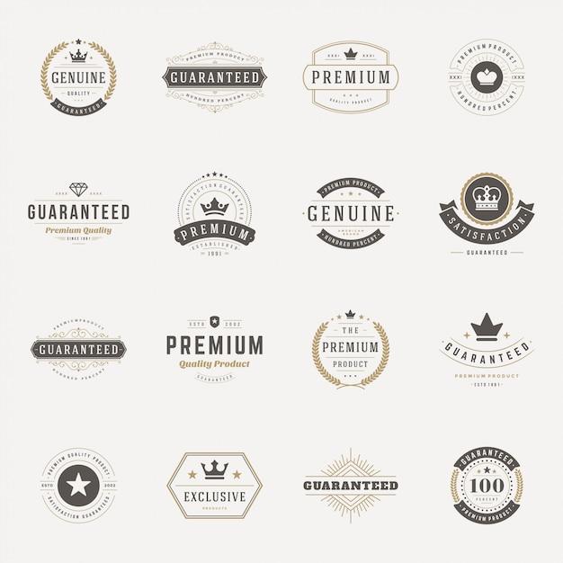 Retro Vintage Insygniów Lub Logotypów Zestaw Elementów Wektorów Premium Wektorów