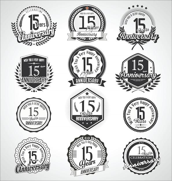 Retro Vintage Rocznica Odznaki I Etykiety Kolekcji Premium Wektorów