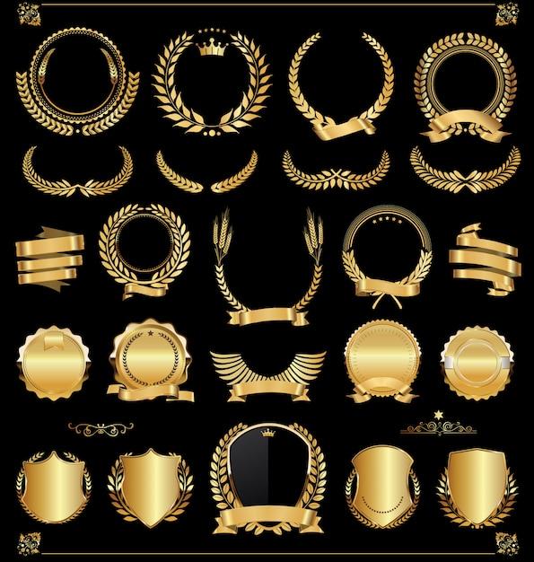 Retro Vintage Złote Etykiety I Banery Wektor Zbioru Premium Wektorów