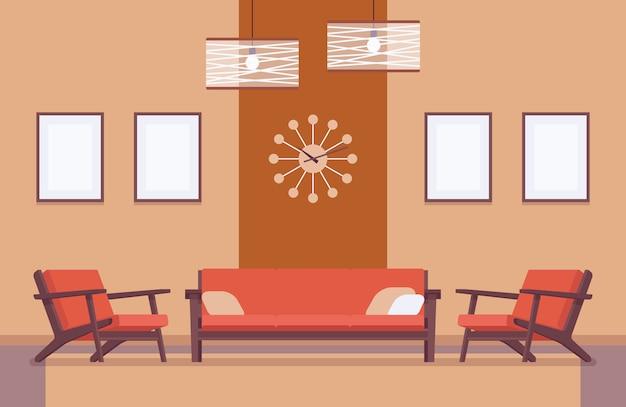 Retro wnętrze z kanapą, ramy dla copyspace Premium Wektorów