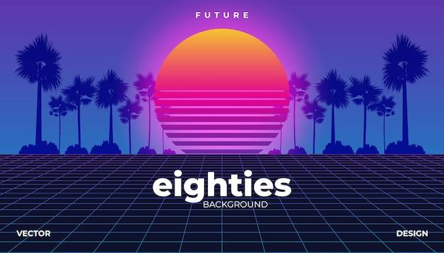 Retrowave, Cyber Neonowe Tło Palmy Krajobraz 80s Premium Wektorów