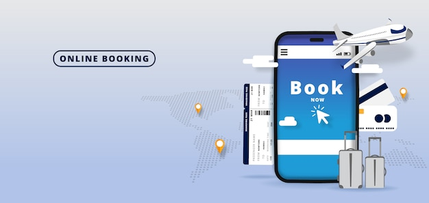 Rezerwacja Lotów Online Podróż Lub Bilet .online Hotel Reservation Aplikacja Mobilna. Tło świata. Ilustracja Premium Wektorów
