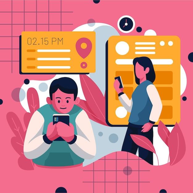 Rezerwacja Spotkań Z Ludźmi I Smartfonem Darmowych Wektorów