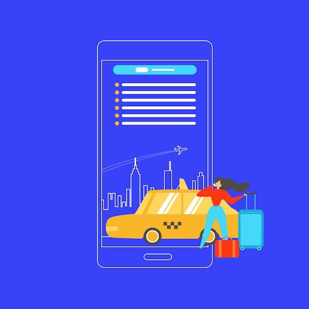 Rezerwacja Taksówki Z Telefonu Komórkowego Płaski Wektor Koncepcja Darmowych Wektorów