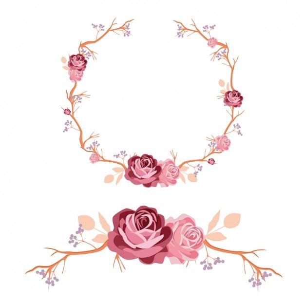 Róże wieniec i ozdoba projekt Darmowych Wektorów