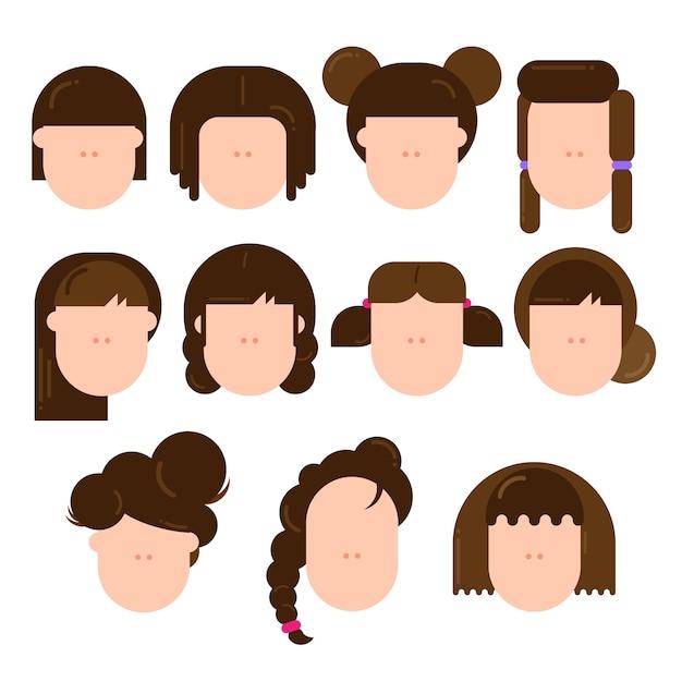 Różne Rodzaje Kobiecych Fryzur Wektor Premium Pobieranie