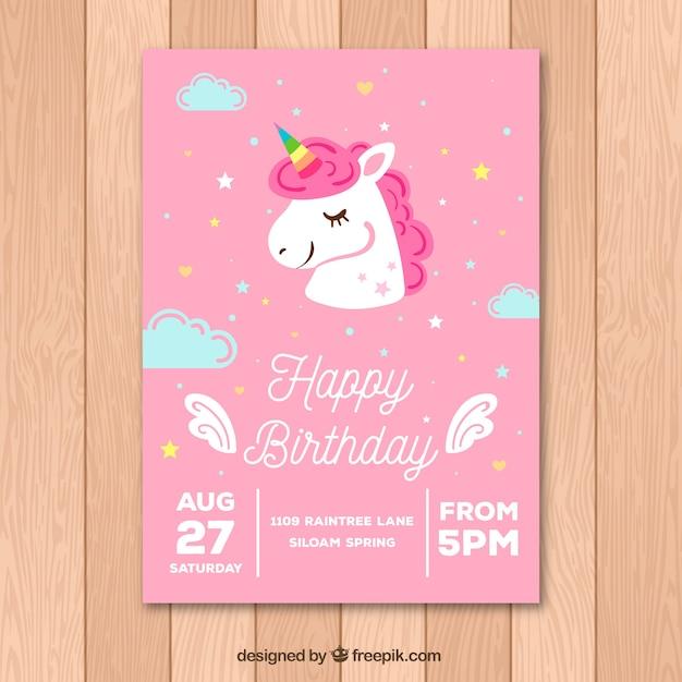 Różowa karta urodzinowa ze ślicznym jednorożcem Darmowych Wektorów