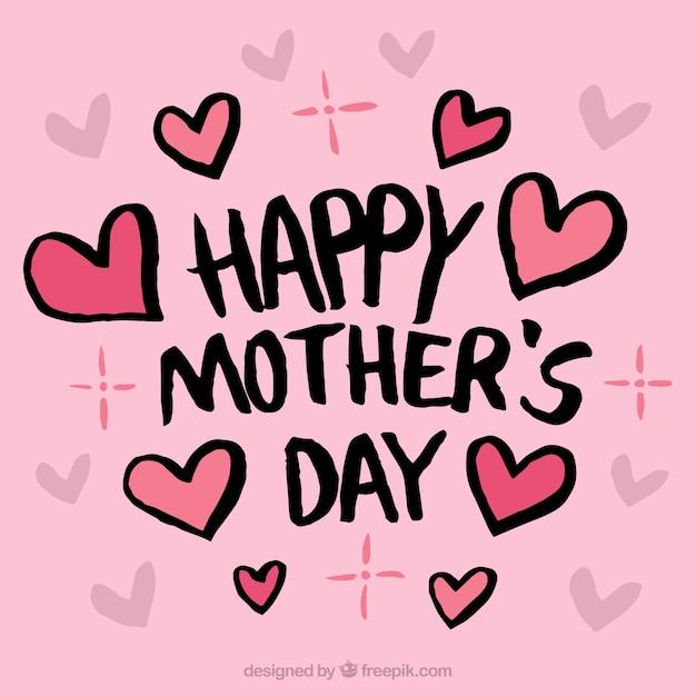 Różowe tło z serca na dzień matki Darmowych Wektorów