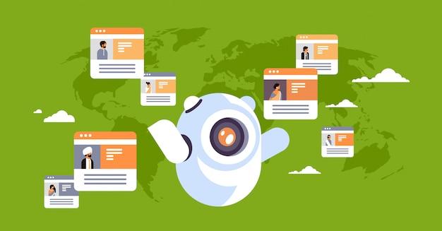 Robot chatbot online komunikator indyjski ludzie globalny komunikacja banner Premium Wektorów
