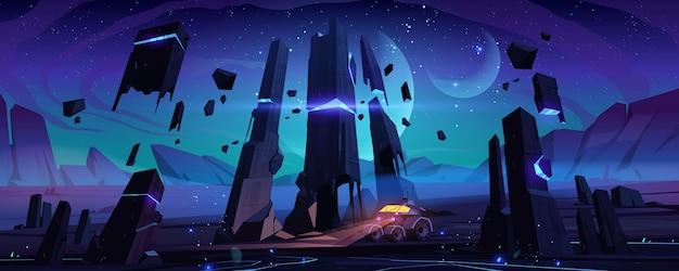 Robot Explorer Na Powierzchni Obcej Planety W Nocy. Darmowych Wektorów