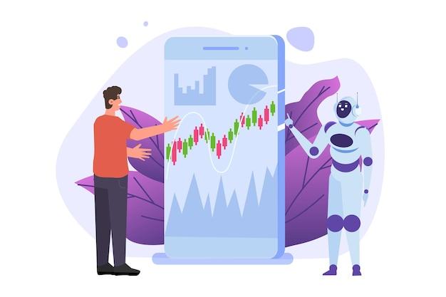 Robot Inwestujący Robo-doradca Sztuczna Inteligencja I Biznesmen Premium Wektorów