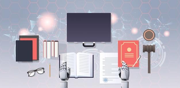 Robot Prawnik Lub Sędzia Czytanie Książki Prawa Humanoidalnego Premium Wektorów