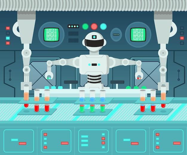 Robot Przeprowadzający Eksperymenty W Laboratorium! Tło Do Gier Na Warstwach. Premium Wektorów
