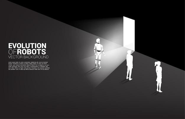 Robot Przy Drzwiach Wyjściowych Z Człowiekiem Ze ścianą. Koncepcja Biznesowa Uczenia Maszynowego I Sztucznej Inteligencji Ai. Człowiek Kontra Robot. Premium Wektorów
