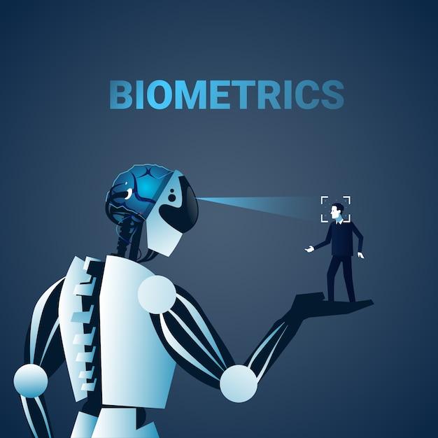 Robot scanning man face biometrics identification kontrola dostępu technologia system rozpoznawania Premium Wektorów
