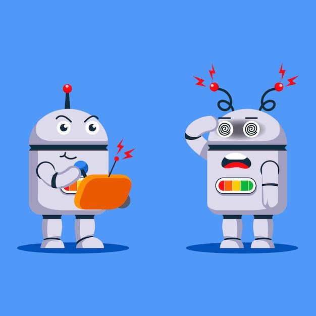 Robot Sterujący Innym Robotem Za Pomocą Pilota Premium Wektorów