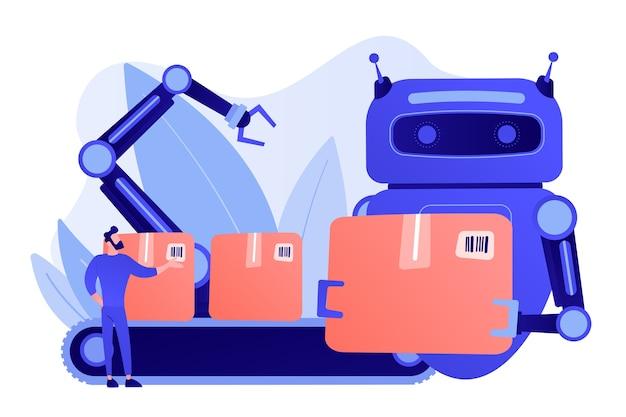 Robot Zastępujący Człowieka Pracującego Ze Skrzyniami Na Przenośniku Taśmowym I Ramieniu Robota. Substytucja Pracy, Człowiek Kontra Robot, Koncepcja Kontroli Pracy Robotyki Darmowych Wektorów