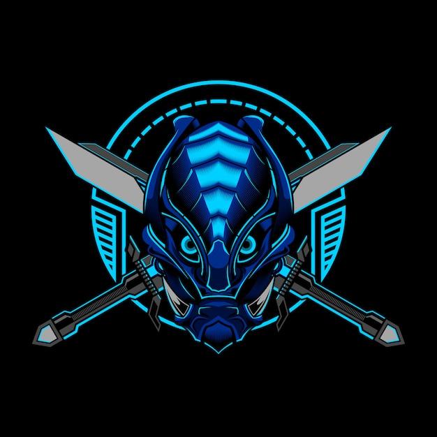 Robotic ronin samurai evil vector ilustracji Premium Wektorów