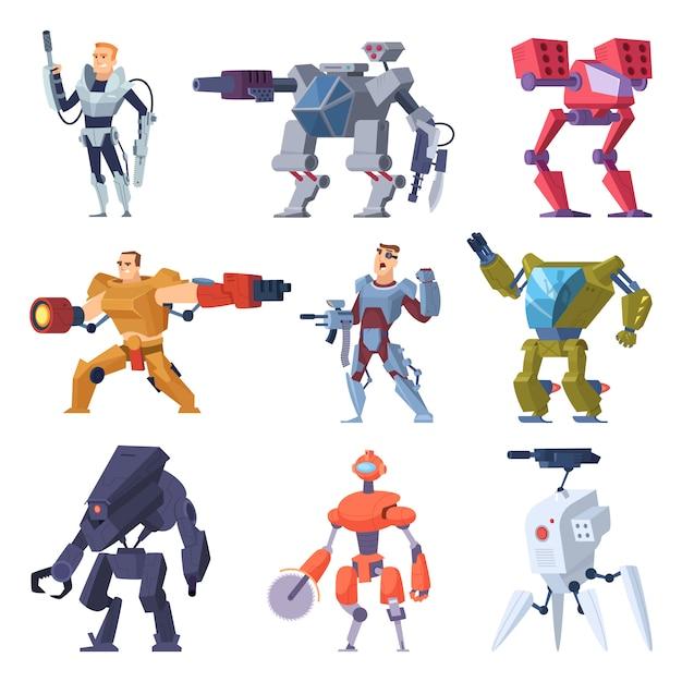 Roboty Bojowe. Transformatory Pancerne Android Ochronny żołnierz Elektroniczny Broń Przyszłości Premium Wektorów